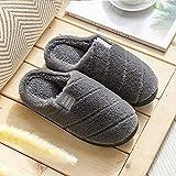 Zapatillas Casa Hombre Mujer Invierno Zapatillas De Mujer Zapatillas De Felpa A Rayas Zapatillas Suaves Zapatillas De Interior Antideslizantes para El Hogar Zapatos De Pareja para Mujer-Grey_7.5