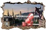 UltrasStuttgartBengalo, 3D Wandsticker Format: 92x62cm, Wanddekoration