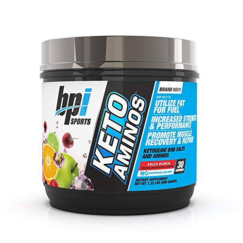 BPI Sports Keto Aminos – 7g Essential Amino Acid Powder – BHB Salts, MCTs – Burn Fat for Fuel, Muscle Growth, Recovery, Strength – Men & Women – Fruit Punch – 30 Servings – 1.32 lbs