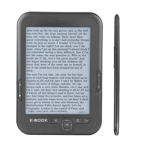 Voluxe E-Book Reader, E-Book Reader E-Ink, Flexibilidad Resolución 1024 X 768 Pantalla 300DPI Cubierta Azul para Reloj Diccionario Calculadora(Gray, 8G)