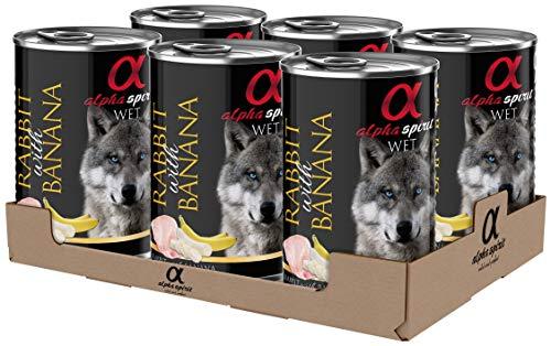 ALPHA SPIRIT Alimento Completo Húmedo para Perros Conejo con Plátano - Paquete de 6 x 400 gr - Total: 2400 gr
