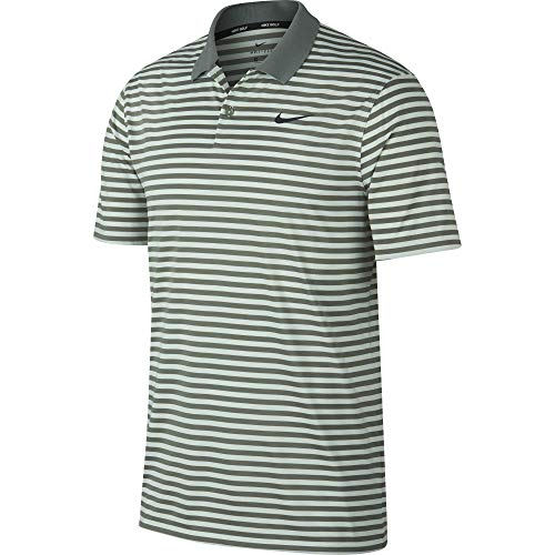 Nike Men's Dry Victory Polo Stripe Left Chest, Vintage Lichen/Barely Grey/Black, Medium