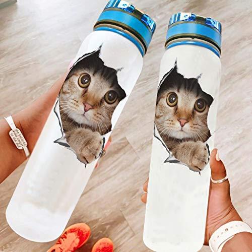 DOGCATPIG Botella de agua de plástico con tapa abatible a prueba de fugas tapa 3D gato Peeking-Mirror a prueba de fugas durable taza para acampar blanco 1000ml