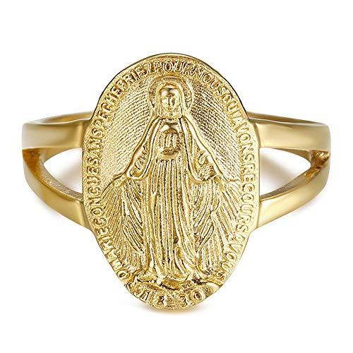 BOBIJOO JEWELRY - Anillo Anillo Anillo de la Virgen María de la Medalla Milagrosa de 1830 316L de Acero Inoxidable de Oro Chapado en Oro - 17 (8 US), Dorado - Acero Inoxidable 316