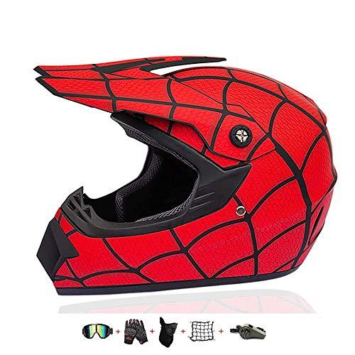 Casco de Motocicleta para niños, Casco Cruzado para niños diseñado con Fox Kids Downhill Casco con Guantes/Gafas/máscara/Red de bungy (5 Piezas) (S: 52-55 cm)