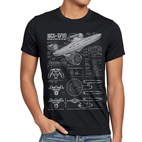 style3 NCC-1701 Blaupause T-Shirt Herren Christopher Pike Trek Trekkie Star, Größe:XL, Farbe:Schwarz