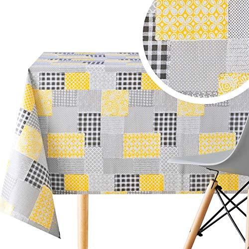 Mantel rectangular de 300 x 140 cm, con diseño de retazos de estilo rectangular, hasta 10 asientos, resistente al agua, mantel de PVC, color gris y amarillo