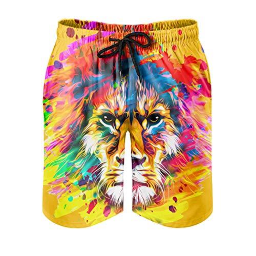 Tentenentent Mens - Gafas de león multicolor, pantalón corto para verano blanco S