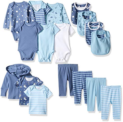 Hanes Ultimate Baby Flexy-17 Piece Warm Weather Essentials Set, Blue, 0-6 Months