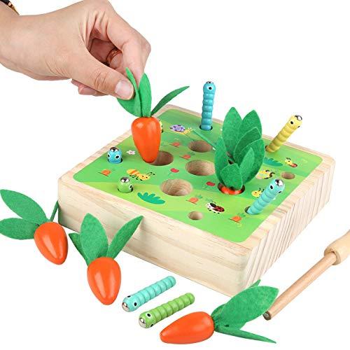 NIWWIN Insecto de Granja de Madera Educativo Juguetes para niños pequeños Zanahorias Cosecha Clasificación de Insectos Juego Desarrollo Montessori Habilidad Juguetes (Zanahoria B)