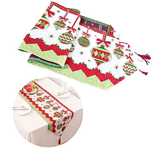 Wenxiaw Corridore Creativo della Tabella di Natale Bandiera da Tavolo Stampata Natalizia Runner da Tavola di Natale per Decorazioni Natalizie Decorazioni per La Casa per La Cena di Natale 35 * 178 cm