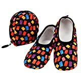 Snoozies Skinnies & Travel Pouch | Purse Slippers for Women | Travel Flats with Pouch | Womens Slippers On The Go | Luggage | Large