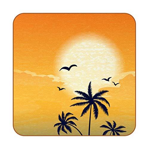 Sunset Beach Surfboard Athlete - Posavasos de piel sintética para bebidas, paquete de 6 posavasos cuadrados para bebidas para uso en casa o bar, regalo de inauguración de la casa