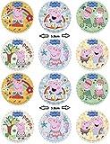 Dekora - 12 Mini Discos Comestibles de Peppa Pig para Cupcakes, Muffins o Galletas - 5,8 cm