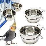 2X Comedero Bebedero para Jaula de Pajaro Acero Inoxidable con Gancho Contenedor de Comida 4 Tamaños Cuenco de Comida Colgante para Pájaro Loro Animal Pequeño Perro BPS-11129*2