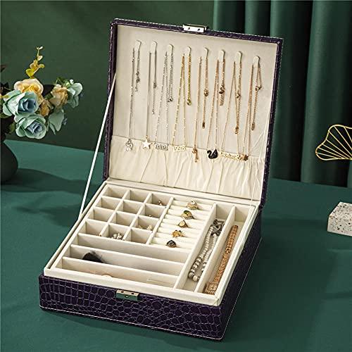 NFRADFM Caja de joyería, caja organizadora de joyas de cuero de 2 capas, para mujer, con organizador de cerradura, estuche de maquillaje grande