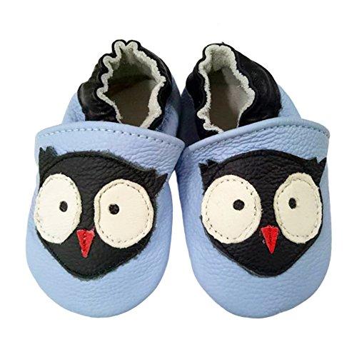 Freefisher Lauflernschuhe, Krabbelschuhe, Babyschuhe - in vielen Designs, Schwarz Vogel auf Hellblau, 18-24 Monate