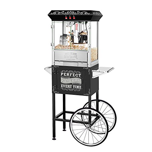 Great Northern 5996 Perfect Popper Machine with Cart-Makes 12 Quarts, 10 oz, Black