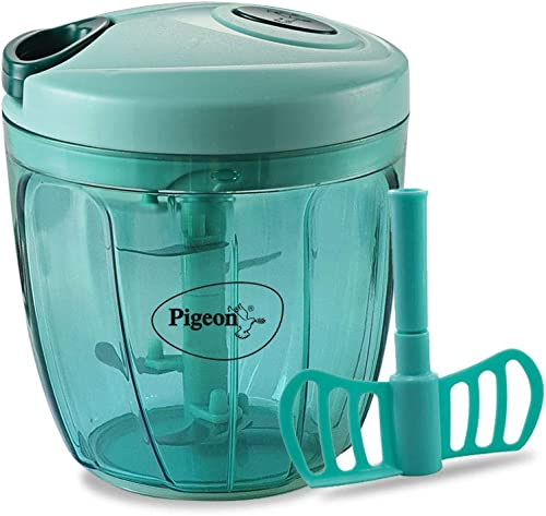 Pigeon Plastic Handy Chopper With 5 Blades And 1 Whisker Green