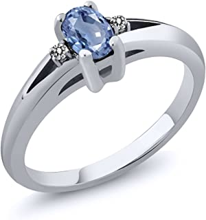 925 Sterling Silver Blue Sapphire and White Diamond Women's Engagement Ring (0.58 Ct Oval, Available 5,6,7,8,9)