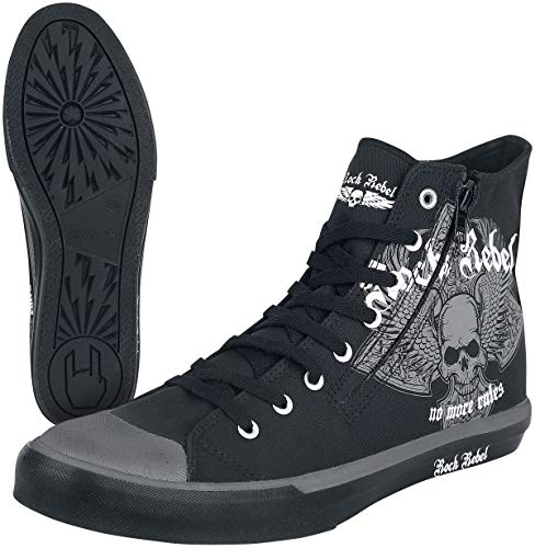 Rock Rebel by EMP Walk The Line Unisexe Baskets Hautes Noir EU41, Tissu,
