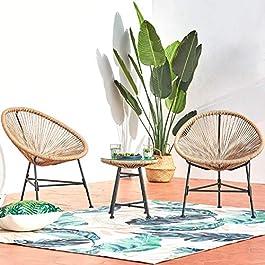 CONCEPT USINE – Ensemble 2 Fauteuils Oeuf + Table Basse Ronde Beige Design Acapulco Rotin Naturel – Cordes en…
