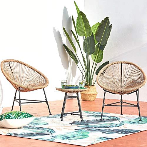CONCEPT USINE - Ensemble 2 Fauteuils Oeuf + Table Basse Ronde Beige Design Acapulco Rotin Naturel - Cordes en...