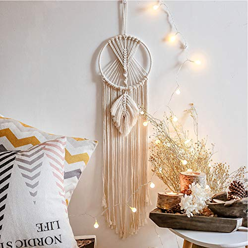 Artilady Macrame Dream Catchers for Bedroom - Boho Wall Hanging Handmade Woven Dream Catcher for Home Decor Ornament Craft Gift (Leaf)