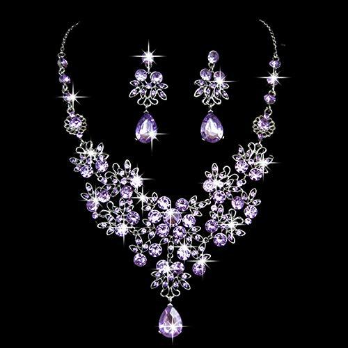Pendientes De Collar Conjuntos Joyas,Mujeres Niñas Nupcial Vintage Cristal Austriaco Brillante Violeta Zirconia Colgante De Diamantes Cadena Gorgerous Boda Vestido De Banquete Conjunto Clásico Regal