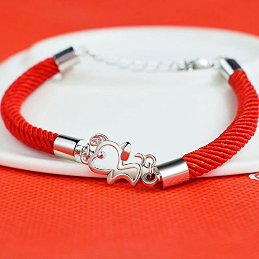 2018 zodiac animal year red string bracelet Cai dog Chinese New Year gift dog bracelet silver jewelry couple models