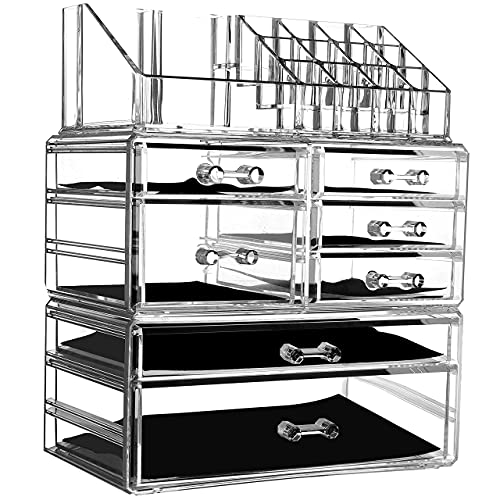 Cq acrylic Makeup Organizer for Vanity,Clear 3 Pieces Set Stackable With 7 Drawers Make Up Pallete Storage Container Cube For Hair Accessories,lip gloss,Perfum,Lipstick,Brush Holder