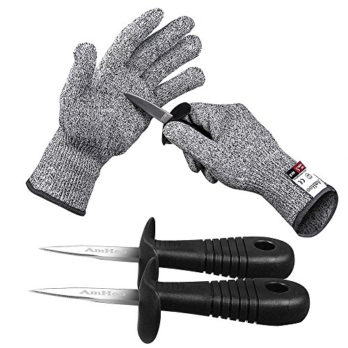 AmHoo Oyster shucking Knife Set Shucker Cut Resistant Glove Level 5 Protection Stainless Steel Clam Shellfish Seafood Opener Food Grade 1 pair M gloves 2 knives
