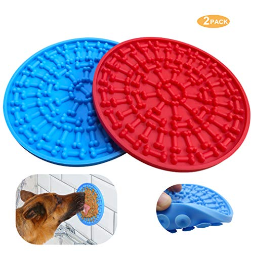 Helpcook Dog Lick Pad,Dog Bathing Distraction Device,Slow Treat Dispensing Mat Peanut Butter Mat Suctions to Wall for Pet Bathing, Grooming, and Dog Training(2Pack)