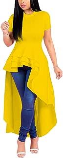 Peplum Tops for Women - High Low Dresses Ruffle Short Sleeve Tunic Shirt