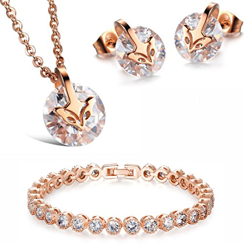 Kim Johanson Edelstahl Damen Schmuckset Fuchs in Roségold Halskette mit Anhänger, Ohrringe & Armband inkl. Schmuckbeutel