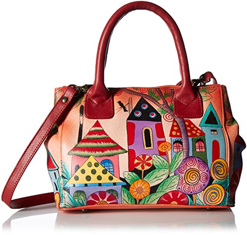 Anna by Anuschka Women's Hand Painted Leather Small Convertible Tote Bag, Village Off Dream