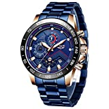 LIGE Relojes Hombre Militare Deportivos Impermeable Acero Inoxidable Analógico Cuarzo Relojes de Pulsera para Hombre Azul