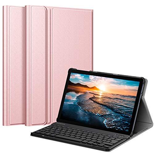 Fintie Funda con Teclado Español Ñ para Huawei MatePad T10s - Carcasa SlimShell con Soporte y Teclado Bluetooth Inalámbrico Magnético Desmontable, Oro Rosa