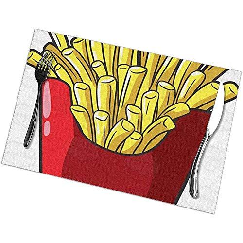 GuyIvan Chips Tischsets Set mit 6 abwaschbaren, rutschfesten Wärmeisolations-Tischsets