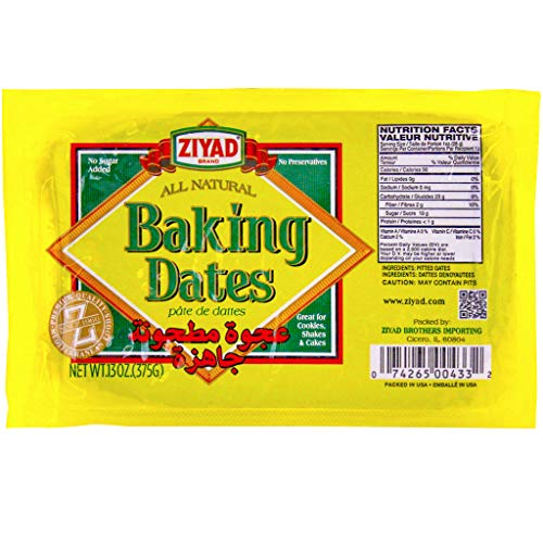 Ziyad 100% All-Natural Pure Date Paste, Spread, Ideal For Baking, Pantry, High Fiber, No Fat, No Preservatives 13 oz