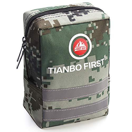 TIANBO FIRST 120-teiliges Erste-Hilfe-Set, taktischer Molle Tasche, EMT Erste Hilfe Tasche, Reflexstreifen, ideal für Camping, Überleben, Wandern und Rettungstarnung