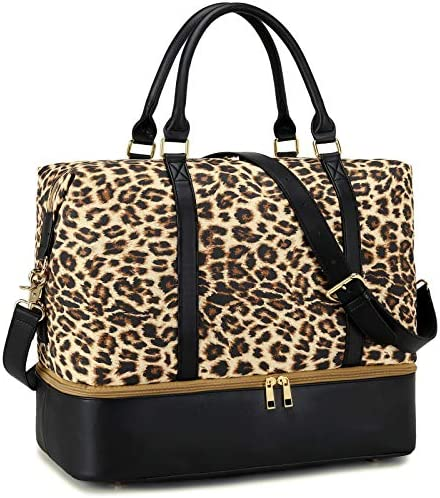 CAMTOP Women Ladies Weekender Travel Bag Canvas Overnight Carry on Duffel Tote Luggage 289 Leopard product image