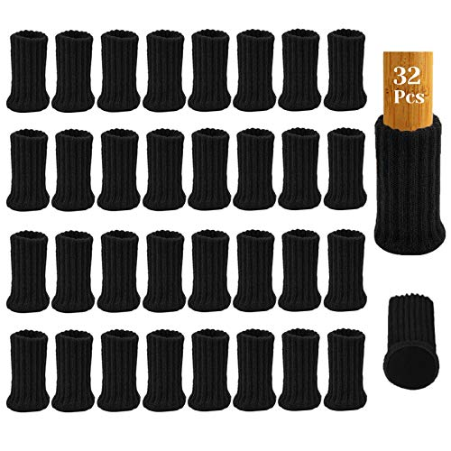 32Pcs Calcetines para Patas de Silla con Almohadillas de Fieltro, AUHOTA Elásticos Protectores de Patas de Madera Gruesa, Muebles Tapa de Cubre-Antideslizante&Antiarañazos (Negro)