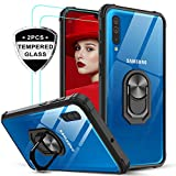 LeYi für Samsung Galaxy A50/A50s/A30s Hülle mit Panzerglas Schutzfolie(2 Stück), Ringhalter Schutzhülle Crystal Clear Acryl Cover Air Cushion Bumper Handy Hüllen für Hülle Galaxy A50 Handyhülle Schwarz