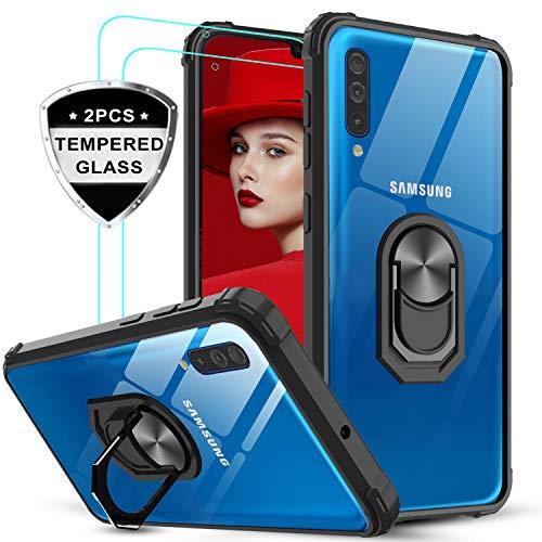 LeYi Funda Samsung Galaxy A50 con [2-Unidades] Cristal Vidrio Templado,Transparente Carcasa con 360 Grados iman Soporte Silicona Bumper Antigolpes Armor Case para Movil A50,Clear Negro