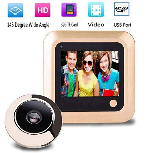Wendry Digitale deurspion, 2,4 inch High Definition LCD kleurenbeeldscherm deurcamera 145 graden groothoek deurspioncamera, beelden opslaan diefstalbeveiliging, bewakingscamera voor deurdikte van 35-110 mm