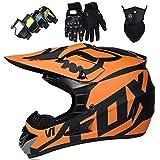 Casco Motocross Niño 5~12 Años ECE Homologado Casco Moto Integral Unisex para Moto Cross Descenso Enduro MTB Quad BMX Bicicleta (Gafas+Máscara+Guantes) con Diseño FOX - MJH-01 - Mate Negro Naranja