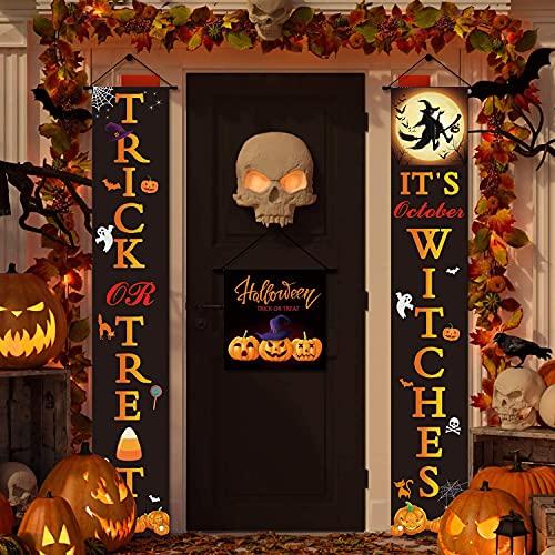 ENONEO Banner de Decoración de Puerta de Halloween Decoración de Halloween Banner de Puerta de Halloween Truco O Trato Signo de Porche de Halloween de la Puerta Delantera para Exterior Interior