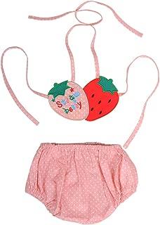 Baby Girls Bikini Two Piece Swimsuits, Quick Dry Toddler Swimwear Strawberry Ruffle Summer Outfit for Beach 0-3 Years
