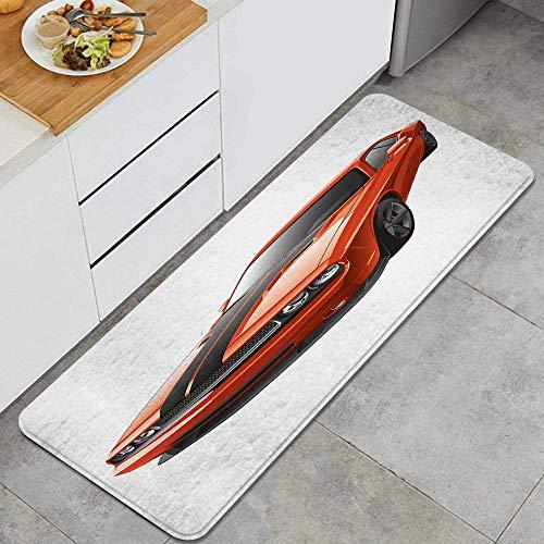 JOSENI Anti-Müdigkeit Küche Bodenmatte,Moderne Muscle Car Exotic Sports Hobby Aktivität Freizeit Konzept...
